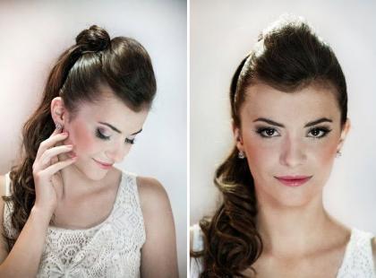 Uwodzicielski makijaż ślubny i fryzura