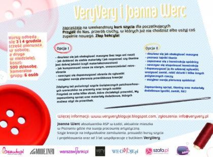 VeryVery i Joanna Werc zapraszają na weekend z szyciem!