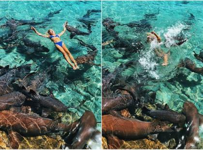 Weszła do wody z rekinami, by mieć ładne zdjęcia z wakacji. Jeden z nich ją zaatakował!