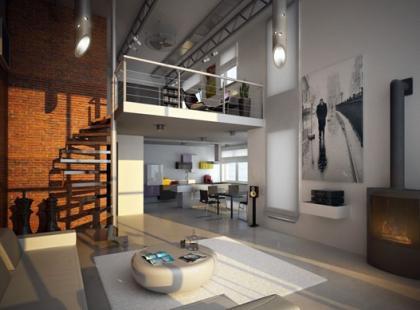 Wnętrze w loftowym stylu