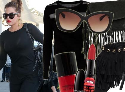 Wow! 30-letnia Khloe Kardashian stawia na czerń i frędzle
