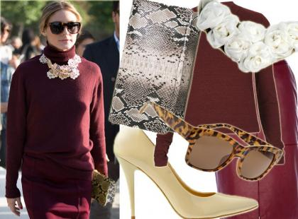 Zadaj szyku w burgundowym looku w stylu Olivii Palermo