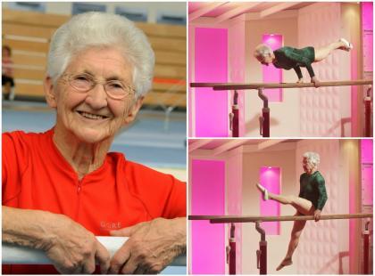 Zdjęcia tej starszej pani to nie fotomontaż. 91-letnia gimnastyczka podbija internet!