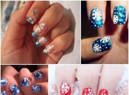 Zimowy manicure zainspirowany płatkami śniegu