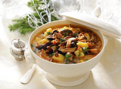 Zupa grzybowa z grzankami