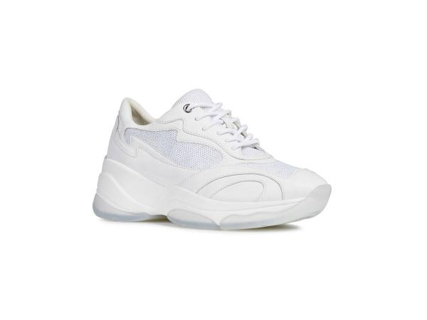 Białe sneakersy na platformie, Geox, cena: 559,90 zł