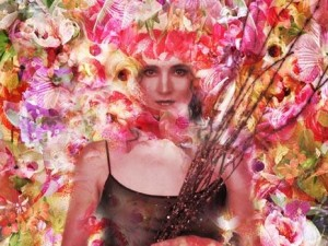 kobieta, kwiaty, wróżka