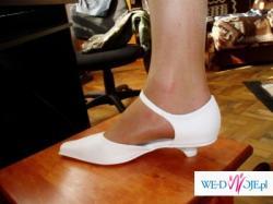 40 zł- buty Growikar rozm. 36(37) ecru obcas:2,5 cm używane