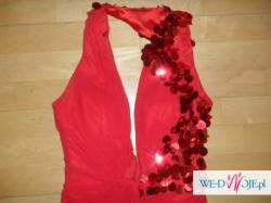 amerykanska ,nowa , czerwona , dluga suknia na czerwony dywan