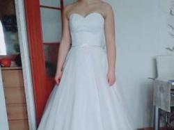 Bajkowa suknia ślubna, Ecru, koronkowa, roz,.36-38