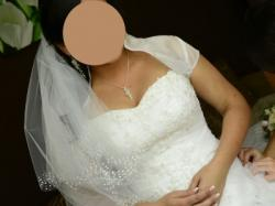 Bajkowa suknia ślubna o kroju princessy z kryształkami swarovski 38/40