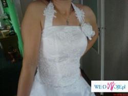 Biała. długa suknia ślubna +BOLERKO I WELON GRATIS