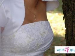 Biała suknia dla niskiej osoby (160 cm) rozmiar 36-38  wiązana dodatki