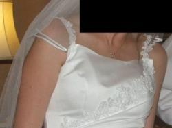 Biała suknia jednoczęściowa z halką i bolerkiem r. 36