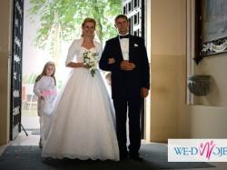 biała suknia MORII LEE księżniczka 36/38 z pięknym haftowanym trenem!!!