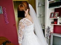 Biała suknia Princessa Fasson Koronkowe bolerko 40 42