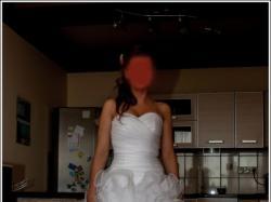 biała suknia ślubna hiszpanka falbany roz. 36