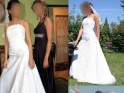 Biała suknia ślubna z koronką r.34/36 bez trenu!