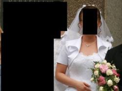 Biała suknia ślubna z salonu Polsanta, rozmiar 42 + dodatki