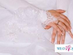 Biała suknia ślubna z satyny i organtyny