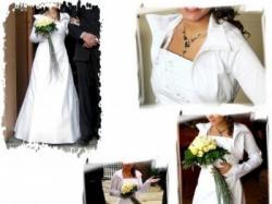 Biała z haftem ecru, jednoczęściowa, sznurowana, idealnie dopasowująca się do ci