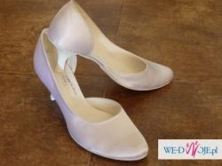 Białe buty ślubne z satyny, nie używane, rozm.39