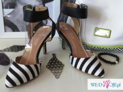 Biało-czarne szpilki  sandały jak ZARA 37