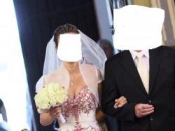 BIAŁO- CZERWONA Wyjątkowa suknia ślubna wiązana rozmiar 38-40