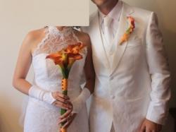 Biały Garnitur Ślubny Wyjątkowy żakardowy