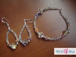 Biżuteria ze srebra i kryształków Swarovskiego, komplet kolczyki i bransoletka