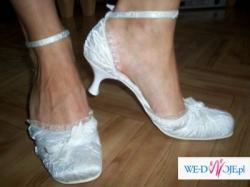 buty slubne atłasowe kreszowane 39