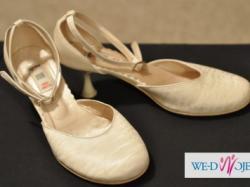 Buty ślubne Graf Shoes, kolor ecru, atłasowe, rozmiar 37
