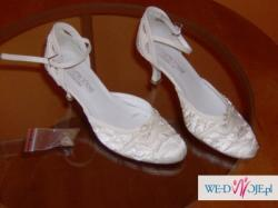 Buty ślubne rozmiar 36 ecru obcas 6cm