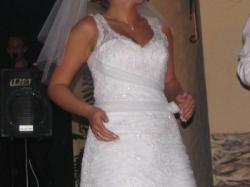 CLASSA C418- najpiękniejsza suknia ślubna z koronką, biel 38/40 Będzin/Dg