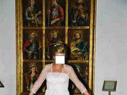 Cudowna suknia z koronkowym płaszczykiem wg wzoru La Perle