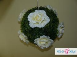Dekoracja ślubna - kula kwiatowa, bukszpan 25 cm