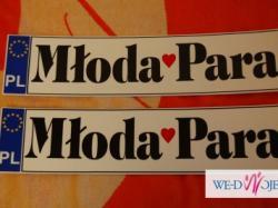 Dekoracja ślubna na samochód 2 serca rattan + 2 tablice Młoda Para