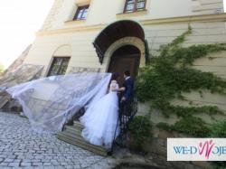 ekskluzywna suknia ślubna GRATIS 2 welony dlugi i krotki