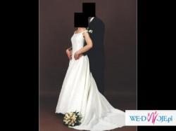 Elegancka i subtelna suknia, szykowna i romantyczna suknia ślubna