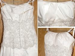Elegancka, piękna suknia. Jasny ecru, koronka, odpinany tren. Na szczupłą osobę