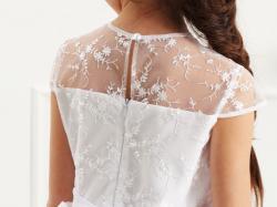 Elegancka, śnieżnobiała sukienka dla dziewczynki po komunii, dla druhny, na wesele w roz 128-158