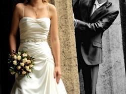 Elegancka suknia Adeline Ronald Joyce 38 ecru CDN