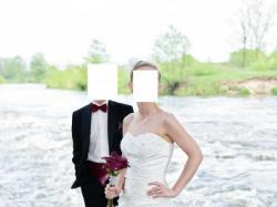 Elegancka suknia ślubna - AFRODYTA EGIRYN- z halką, szalem i woalką