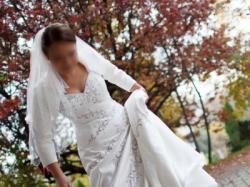 Elegancka Suknia Ślubna Ecru Jasmine F208 Rozmiar 38 + dodatki