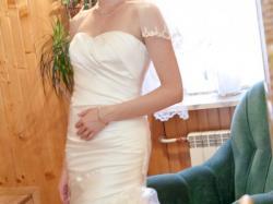 Elegancka suknia ślubna rybka z trenem, bolerkiem, halką na 179 cm