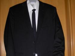 Elegancki Czarny Garnitur LAVARD+koszula, spinki, buty