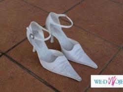 eleganckie buty ślubne, białe rozm. 36