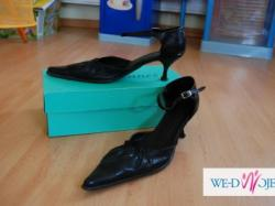 Eleganckie, czarne buty w szpic - GORĄCO  POLECAM
