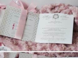 Eleganckie zaproszenia ślubne. Pudrowy róż, pastelowe, vintage