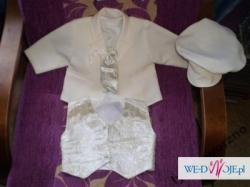 GARNITUREK  na chrzest wykonany z bawełny w rozmiarze 68,koloru ecru